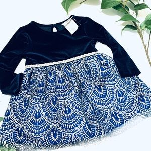 Rare Editions Baby Girls Navy Velvet Glitter Dress
